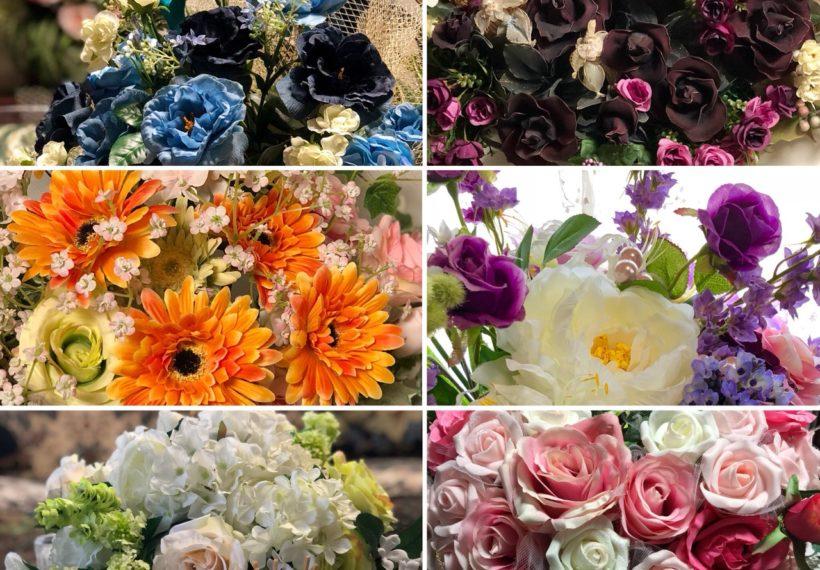 百均の造花を使って フラワーアレンジメント